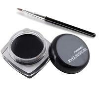 Black Eye Liner Eyeliner Shadow Gel Makeup + Brush Waterproof New
