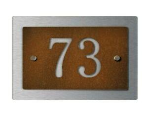 Hausnummer Schild aus Edelstahl Edelrost