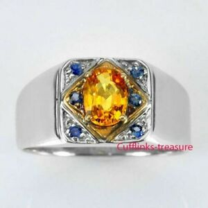 Natural Citrine & sapphire Gemstones with 925 Sterling Silver Ring for men's