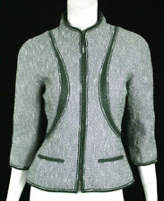 CHANEL $4,645 13P Metallic Dark Green & White Tweed Zip Front Jacket 38