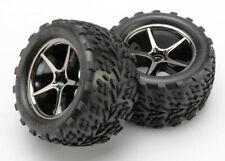 Traxxas Tires and wheels, Gemini black chrome wheels w/Talon(2) - Z-TRX7174A