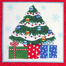 Christmas Ho Ho Ho Tree panel fabric square quilting quilt block