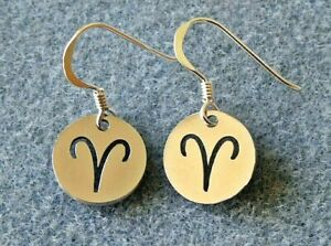 Aries Zodiac Earrings, Sun Sign, Star Sign, Sterling Silver and Steel