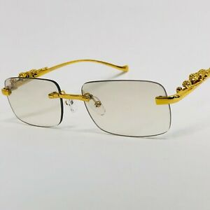 Mens Sunglasses Hip Hop Quavo Migos Rimless SQUARE Frame Clear Lens Gold Shades