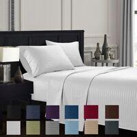 Hotel Luxury Striped Deep Pocket Microfiber 4 Piece Bed Sheet Set Queen King