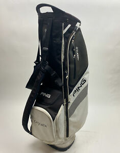 Ping Hoofer Golf Cart/Carry Stand Bag 5-Way Divided White W/ Straps & Rainhood