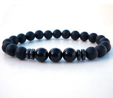 2018 Men's Black Tourmaline Matte Agate Stone Charm Yoga Beaded Energy Bracelets