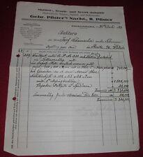 rechnung alt antik gebr. pfister´s nachf. b pfister friedrichshafen 1923 papier