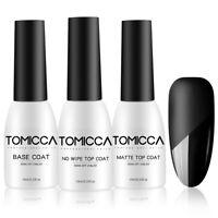 TOMICCA Gel Nail Polish Base Coat and Matte/No Wipe Top Coat Soak Off UV/LED