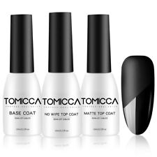 TOMICCA Gel Nail Polish Base Coat and Matte/No Wipe Top Coat Soak Off UV/LED
