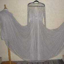 Vtg 70s Rose Taft Couture Gown Rhinestone Studded Voluminous Tulle M
