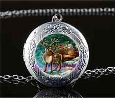 Christmas Reindeer Cabochon Glass Tibet Silver Locket Pendant Necklace