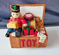 "Vintage Ceramic Christmas Toy Box ~ Musical ~ Rotating ~ Plays ""Jingle Bells"""