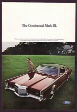 1968 Original Vintage Lincoln Continental Mark III 3 Car Photo vintage print ad