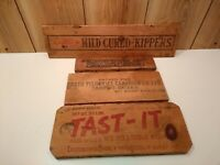 vintage wood shipping crate panels lot of 4 - Booth Fisheries,  California Grape