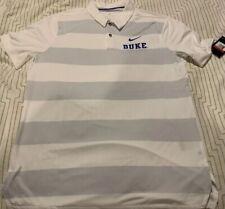 Duke University Blue Devils White Gray Nike Dri-Fit L Large Golf Polo Shirt NWT