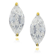 1.00ct Marquise Cut Earrings Brilliant Cut Studs 14K Yellow Gold Heavy Basket