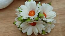 50 Off White Daisy Flower Mulberry Paper Scrapbooking Wedding Cards 4.25cm.WH1