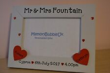 Personalised wooden photo frame - Mr & Mrs wedding location date time - gift