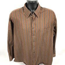 Scott Barber XL Men's Shirt Button Down Striped Brown Long Sleeve Shirt (P)