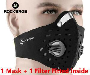 Black Face Mask Rockbros Reusable Washable 2 Valve Cycling Sports Bike Masks UK