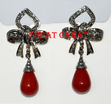 Victorian Style 1.85ct Rose Cut Diamond & Coral Bow Earring, Free Shipping