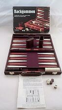 MIB 1970s Cardinal Backgammon Game in Leatherette Attache Carry Case COMPLETE