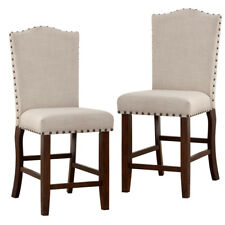 Set of 2 Counter Height High 24 h Dining Chairs Nailhead Trim Stud Fabric Seat  sc 1 st  eBay & Wood Counter Height Chair Chairs for sale | eBay