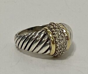 David Yurman Sterling Silver 18k Pave Diamond Cable Thoroughbred Ring