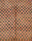 Checkered Vintage Moroccan Traditional Area Rug Oriental Hand-Knotted Wool 4x6