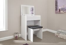 Compact White Dressing Table & Stool Set Bedroom Furniture