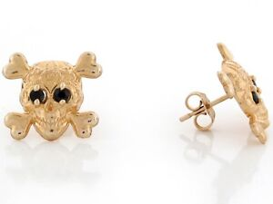 10k or 14k Yellow Gold Skull and Crossbones Earrings with Simulated Blue CZ