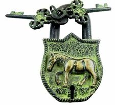 Antique Style Horse Shape Vintage Handcrafted Brass Padlock with unique 2 keys