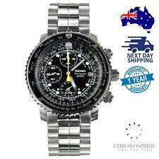 SEIKO Flightmaster Chronograph Solar SNA411 Aviation Pilot Mens Watch