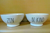 Rae Dunn by Magenta Set of 2 White Bowls ZEN and BE KIND Excellent Condition