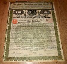 MEXICO Exterior Gold Bond £100 $485 1899 Series D Republica Mexicana + coupons
