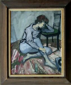 Young Lady Sitting on Floor Next to Chair Old Expressionist Oil Painting NO RES.