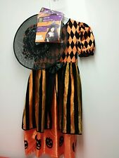 Girls Halloween Costume Dress Sz (8-10) Witch Black/Orange Pumpkins w/ Hat & Wig