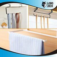 Kitchen Towel Holder, Hanger Rack for Kitchen and Bathroom Under Cabinet (Black)