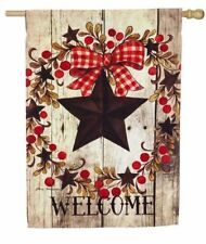 F107 WELCOME FOLK COUNTRY STAR PRIMITIVE BERRIES HOUSE FLAG 29X43 BANNER