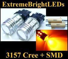 TWO Orange AMBER 3156 3157 Cree Q5 + 12-SMD Turn Signal Lights + Load Resistors