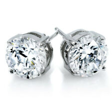 jem: 2ct. WHITE SWISS DIAMOND STUD  EARRINGS in Fine Silver