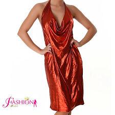 Abito Vestito Lungo donna metallizzato wet look ROSSO RED al Ginocchio 34 36 38