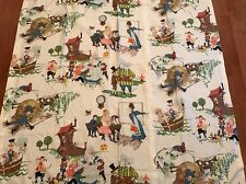 Vtg 50s 60s Sweet Nursery Rhyme Print EVERGLAZE Vat Color Curtain Panels Fabric