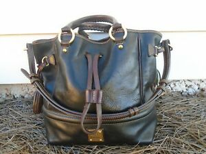 Dooney & Bourke black genuine leather drawstring satchel handbag large