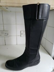 FLEXA DESIGNER WOMENS BLACK LEATHER FLAT KNEE HIGH WINTER BOOTS UK 4.5 EU 37.5