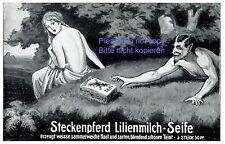 Stechenpferd Seife Reklame 1910 Faun Satyr Nymphe weiblicher Akt stehlen Wald +