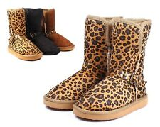 Brown / Black / Leopard Kids Toddlers Girls Boots Shoes Size 5 - 10 WITHOUT BOX
