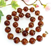 Vintage Chunky Statement Swirly Brown Glass Bead Necklace