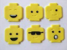 6 Handmade Edible Sugarpaste Lego Man Faces Cupcake Cake Toppers Decorations